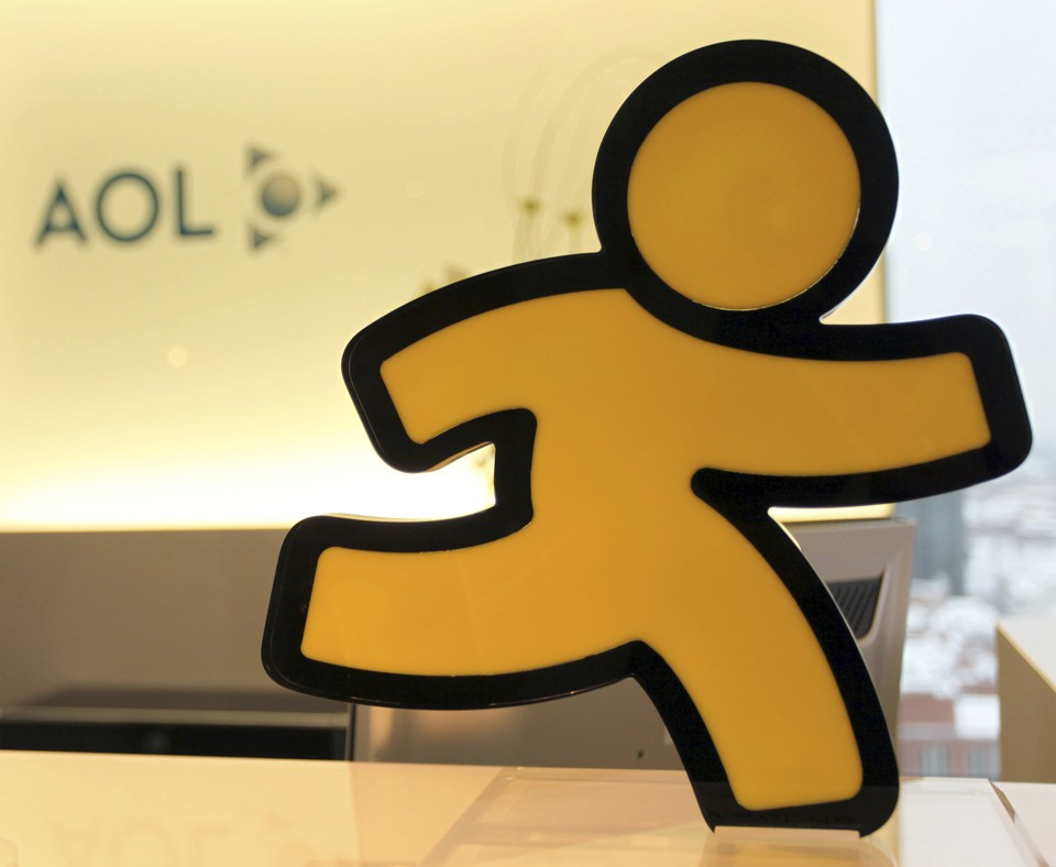 The logo for AOL Instant Messenger, a yellow running person