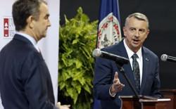 Ed Gillespie, a Virginia gubernatorial candidate, gestures at opponent Ralph Northam