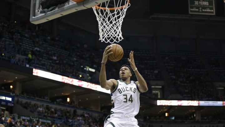 Giannis Antetokounmpo drives to the hoop against the Portland Trail Blazers.