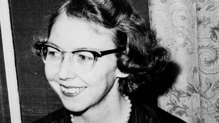 A 1962 photo of author Flannery O'Connor