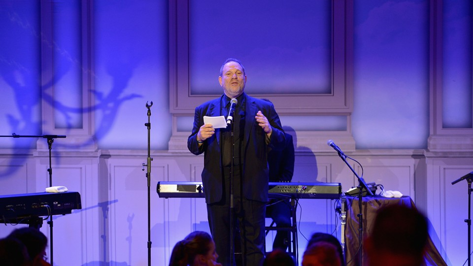 Harvey Weinstein speaks at the Weinstein Company's Oscars party in 2014.