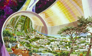 A drawing of a tube in space filled with homes and trees, a futuristic illustration of life off-earth made in 1975