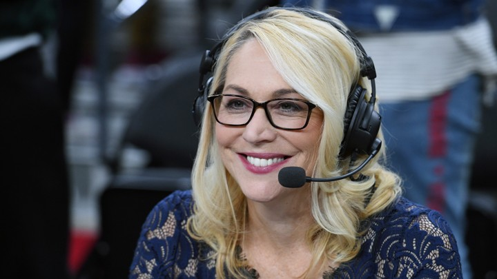 Doris Burke broadcasts after a preseason game between the Sacramento Kings and the Los Angeles Lakers