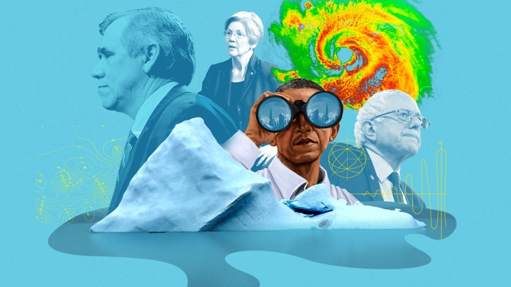 Barack Obama, Elizabeth Warren, and Bernie Sanders contemplate a melting iceberg and a hurricane radar image.