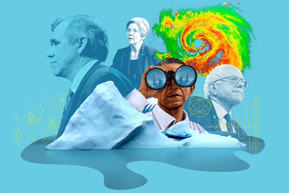 Barack Obama, Elizabeth Warren, and Bernie Sanders contemplate a melting iceberg and a hurricane radar image.
