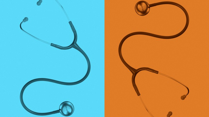 Two stethoscopes side by side, shaded in blue and orange