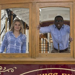 Kristen Bell as Eleanor, William Jackson Harper as Chidi, and Ted Danson as Michael in NBC's sitcom, 'The Good Place'