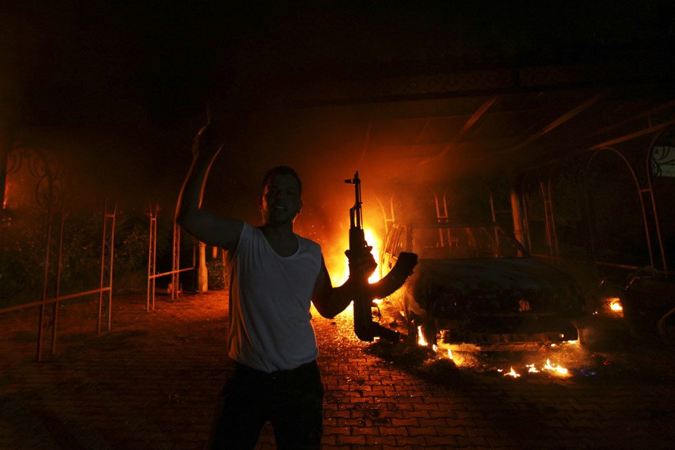 A protester at the U.S. Consulate in Benghazi