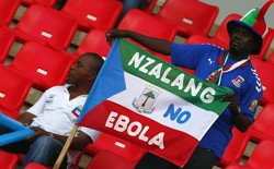 A fan holds an Equatorial Guinea flag with an anti-Ebola message at the African Cup of Nations.
