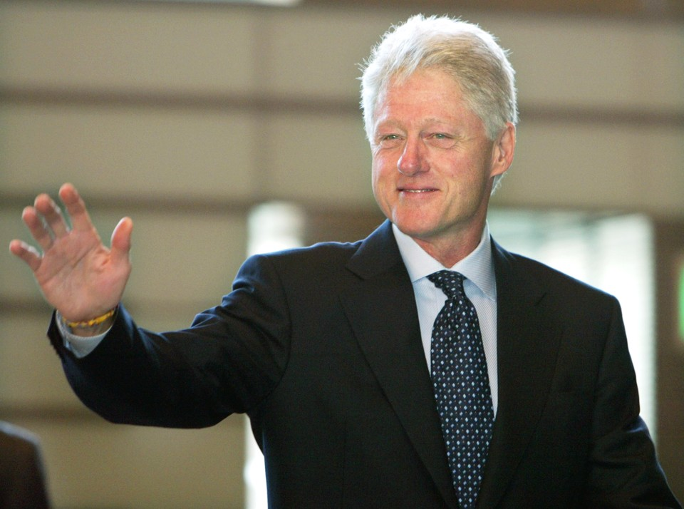 President Clinton waves