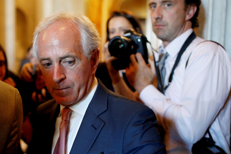 Senator Bob Corker speaks to reporters at the U.S. Capitol.