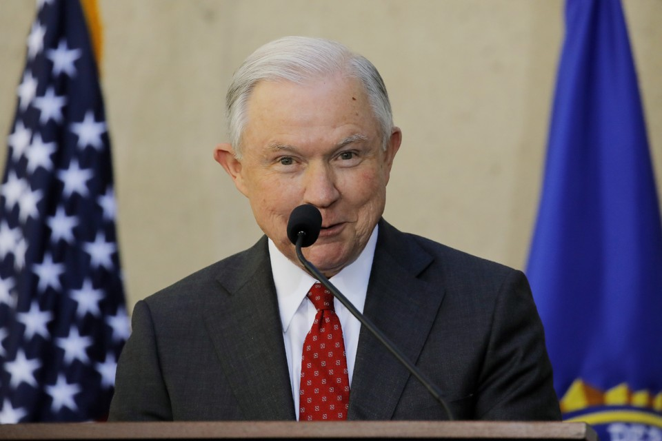 Attorney General Jeff Sessions speaks at installation ceremonies for incoming FBI Director Christopher Wray in September.