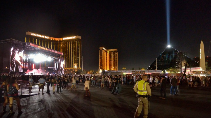 The grounds are shown at the Route 91 Harvest festival, with the Mandalay Bay Hotel behind the stage