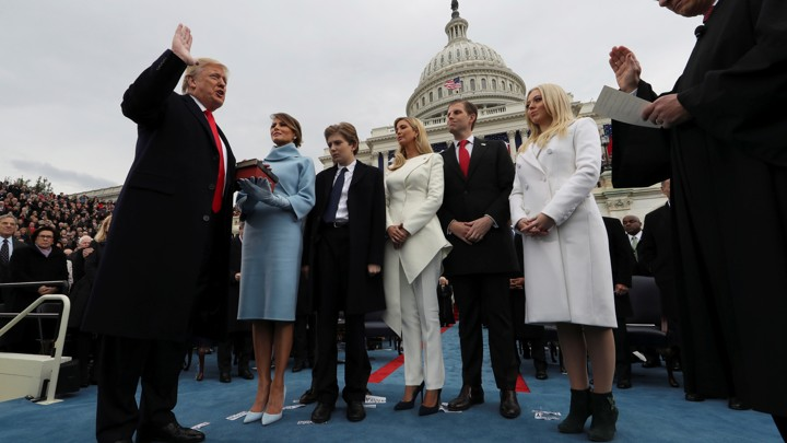 President Trump taking the oath of office in January outside the Capitol