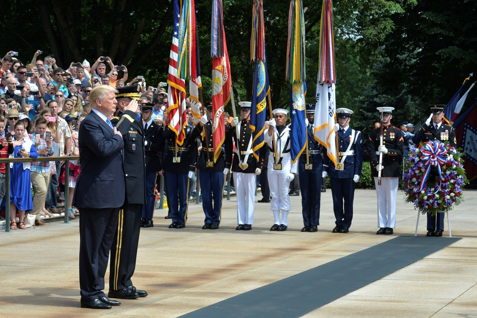 President Trump attends a wreath-laying ceremony at the Tomb of the Unknown Soldier in May.