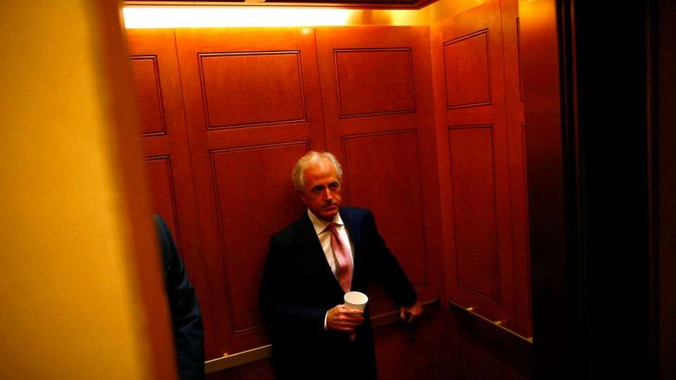 Bob Corker, a Republican senator from Tennessee, photographed as he stands in an elevator on Capitol Hill in July 2017