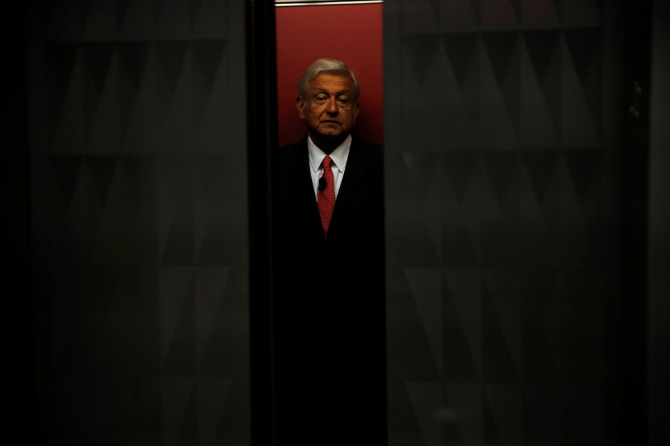 Mexico presidential candidate Andres Manuel Lopez Obrador boards an elevator