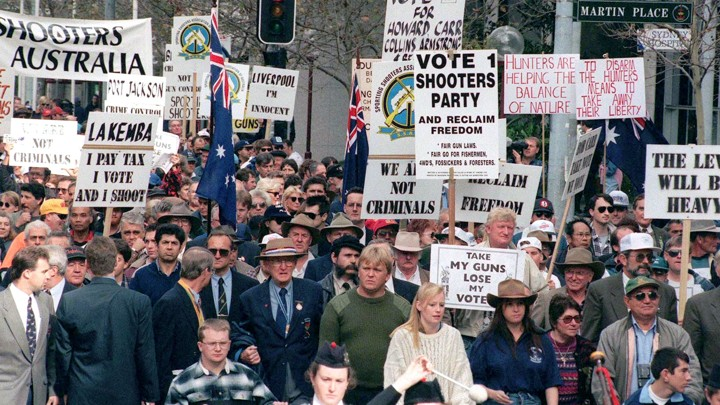 Supporters of gun rights march in Sydney