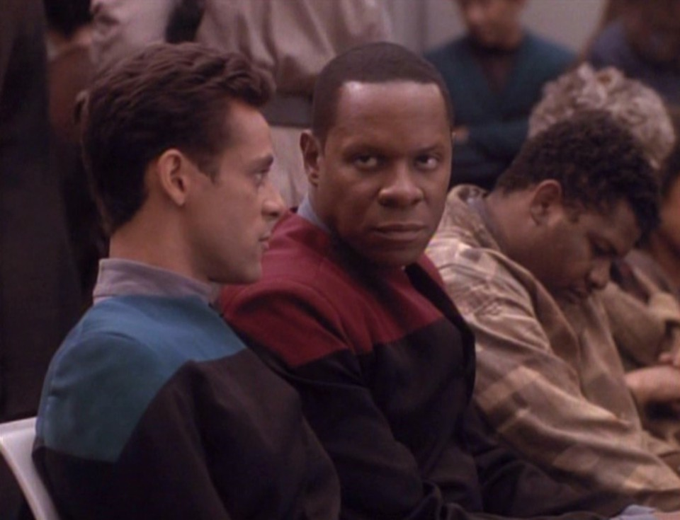 Commanding Officer Benjamin Sisko with Dr. Julian Bashir in the 'Star Trek: Deep Space Nine' episode 'Past Tense'