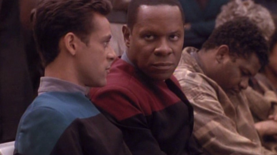 Commanding Officer Benjamin Sisko with Dr. Julian Bashir in the 'Star Trek: Deep Space Nine' episode 'Past Tense'