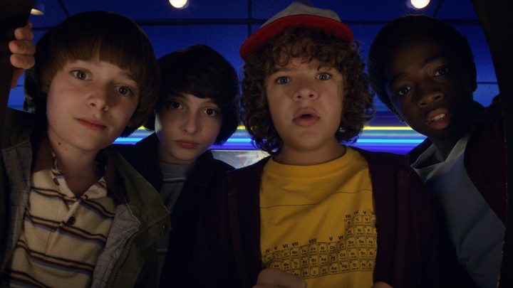 Will Byers (Noah Schnapp), Mike Wheeler (Finn Wolfhard), Dustin Henderson (Galen Matarazzo), and Lucas Sinclair (Caleb McLaughlin) in 'Stranger Things 2,' on Netflix October 27