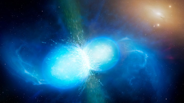 An artist's impression of the merger of two neutron stars