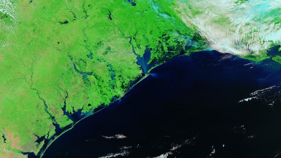 A false-color satellite image of flooding after Hurricane Harvey