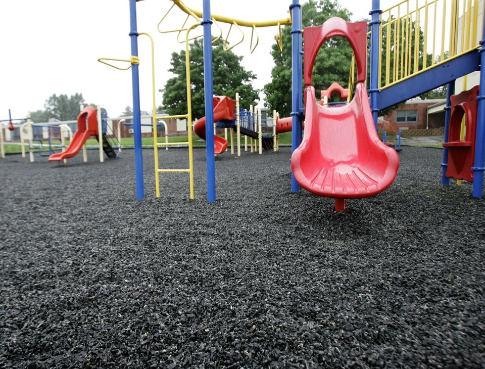 A playground with synthetic turf