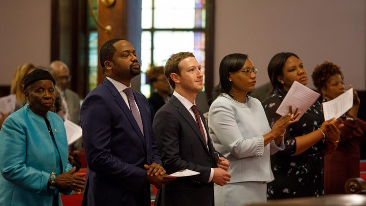 Mark Zuckerberg inside a church