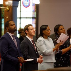 Mark Zuckerberg inside a church