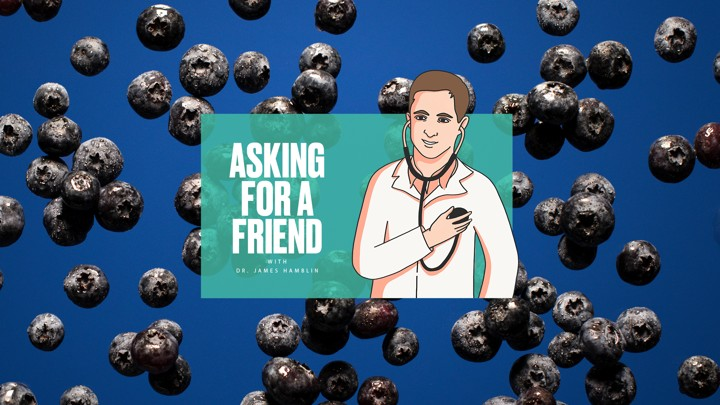 """The """"Asking for a Friend"""" logo over a photo of blueberries"""