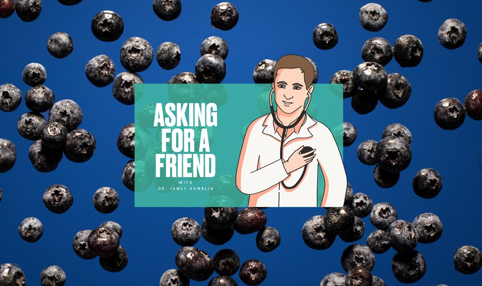 "The ""Asking for a Friend"" logo over a photo of blueberries"