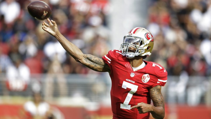 The former San Francisco 49ers quarterback Colin Kaepernick during the first half of an NFL football game against the New Orleans Saints in 2016