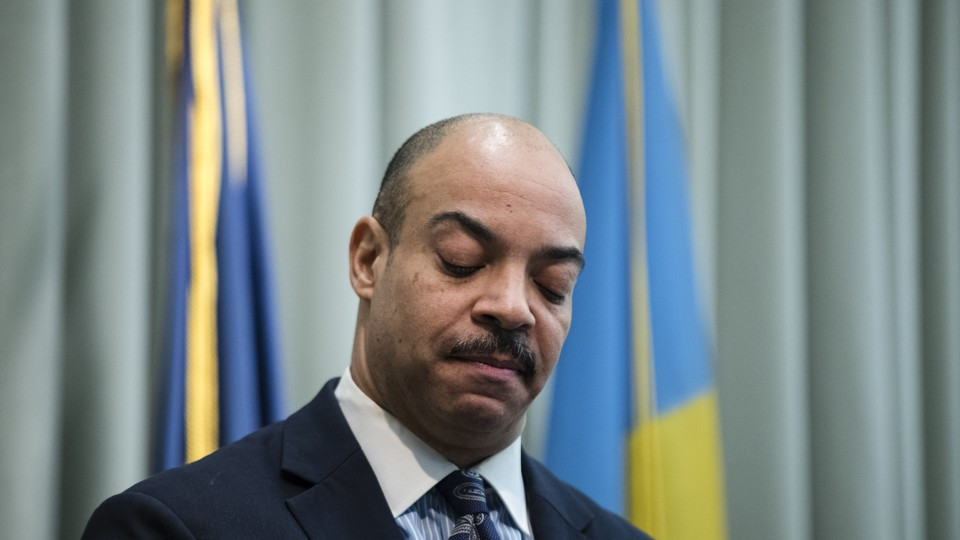 A closeup of Philadelphia District Attorney Seth Williams at a news conference