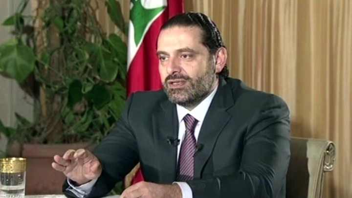 Lebanon's Prime Minister Saad Hariri gives a live TV interview.