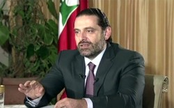 Lebanon's prime minister, Saad Hariri, gives a live television interview.