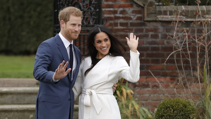 Prince Harry and Meghan Markle, star of 'Suits,' at Kensington Palace following the official announcement of their engagement