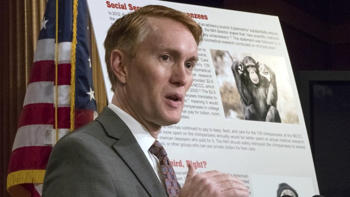 Senator James Lankford of Oklahoma giving a presentation