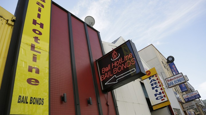 A street-level view of a bail-bonds business
