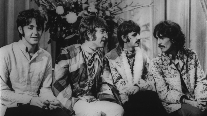 eb7638741 The Beatles attend a lecture given by Maharishi Mahesh Yogi