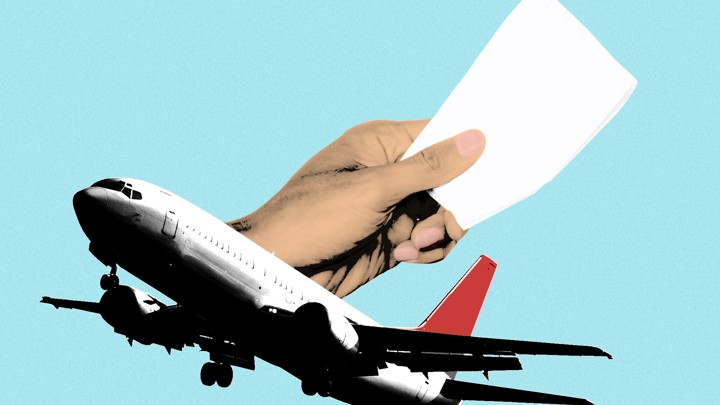 An illustration of an airplane and a hand offering a cocktail napkin