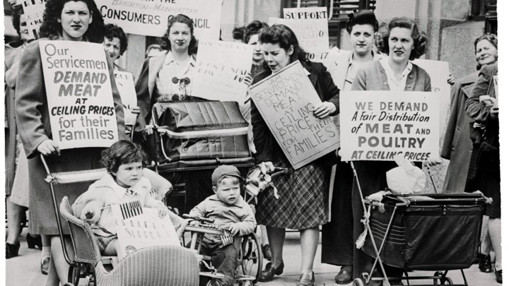 Women in New York protest meat prices in 1945.