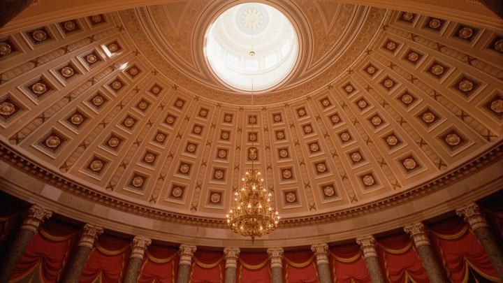 The dome of the National Statuary Hall in the U.S. Capitol