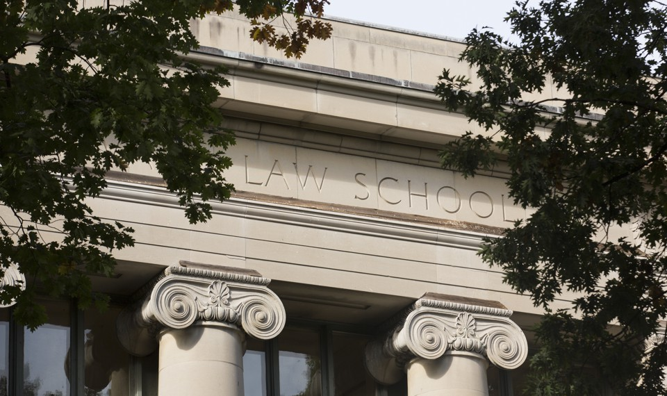 The exterior of a Harvard Law School building