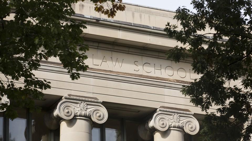 The exterior of a Harvard Law School building