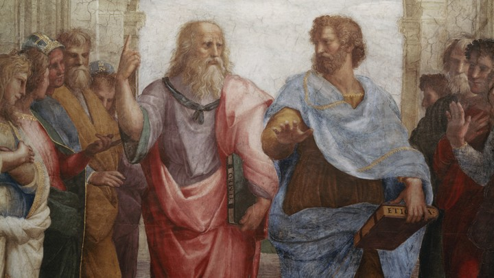 A photograph of a Raphael fresco featuring the philosophers Plato and Aristotle