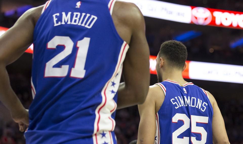Joel Embiid and Ben Simmons of the Philadelphia 76ers