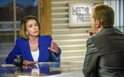 "Rep. Nancy Pelosi (D-CA) and moderator Chuck Todd appear on ""Meet the Press"" in Washington, D.C., Sunday, Nov. 26, 2017."
