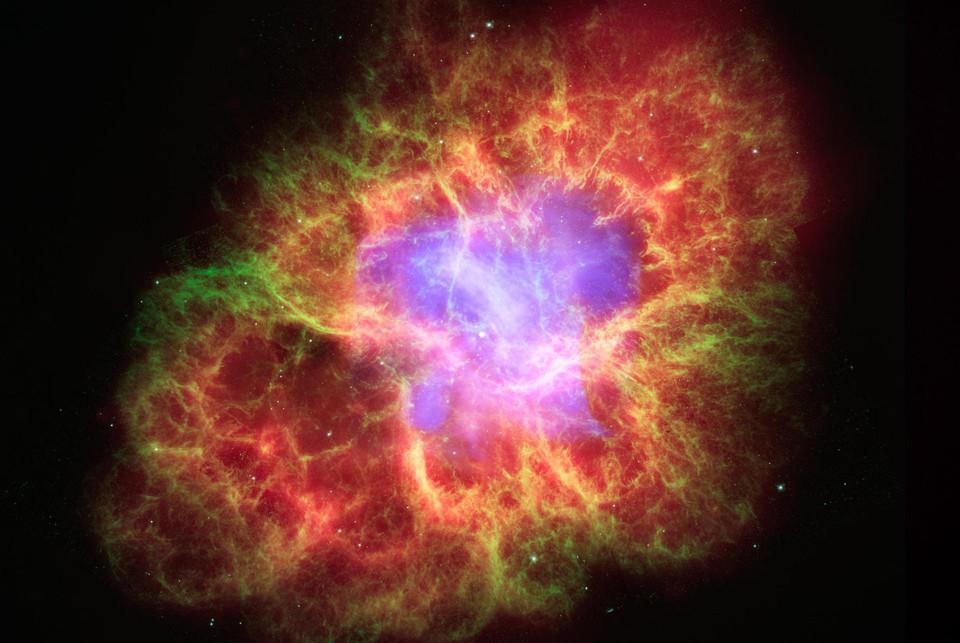 A supernova as seen by three NASA telescopes