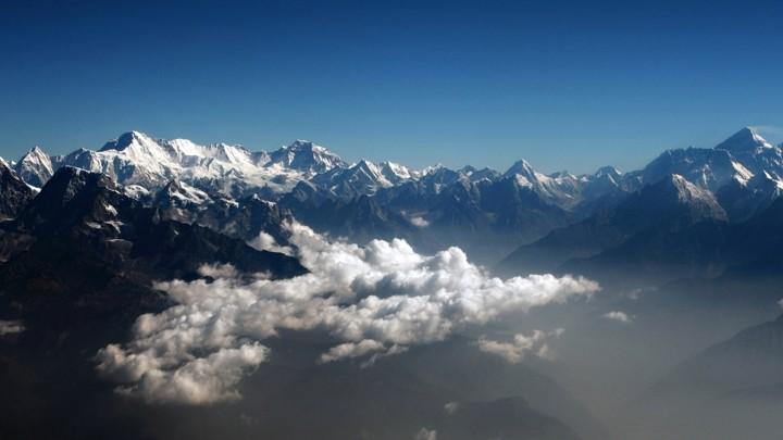 The Himalayas seen through clouds